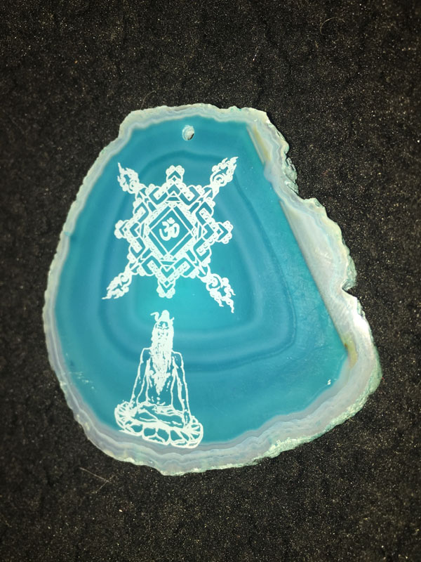Cosmic Aghori - Laser Engraved Agate Geode Slice - Art of Kaliptus - Transpersonal Realms of Consciousness