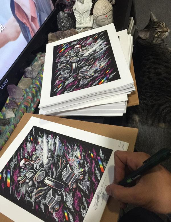 Phật di lặc (Light Mech) - Limited Edition Blotter Print - Art of Kaliptus - Transpersonal Realms of Consciousness